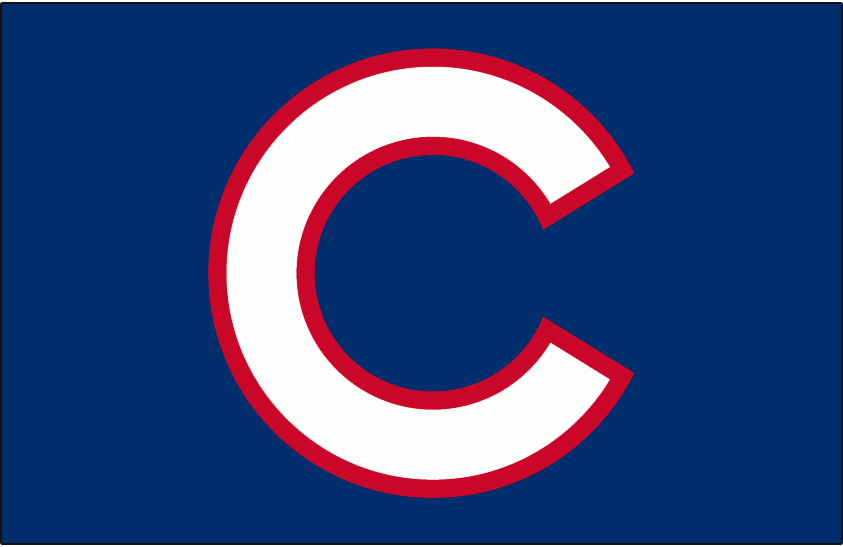 Chicago Cubs Logo Batting Practice Logo (2007-Pres) - (BP) White C outlined in red on blue SportsLogos.Net