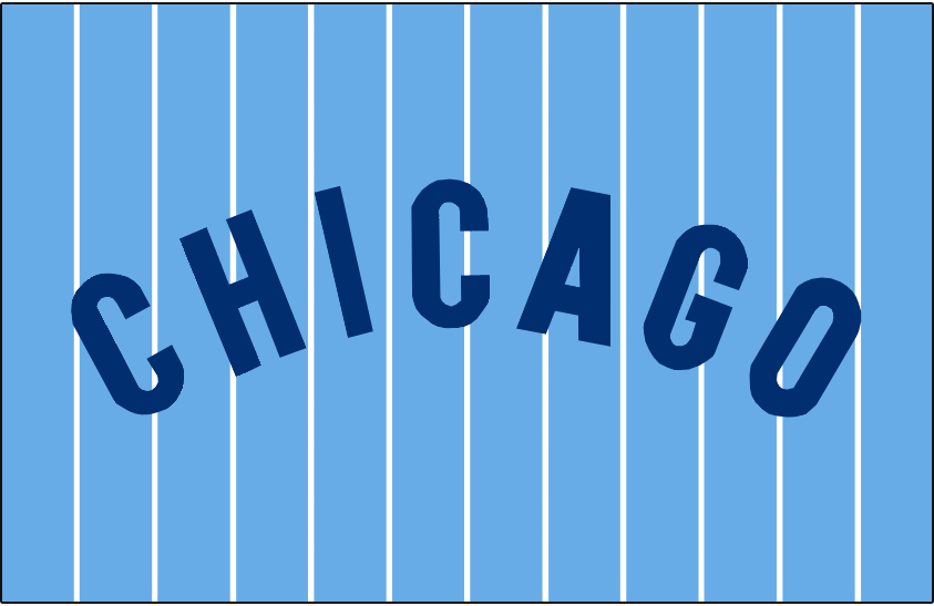 Chicago Cubs Logo Jersey Logo (1978-1981) - Chicago in blue, arched on a powder blue jersey with white pinstripes. Worn on the Chicago Cubs road uniforms from 1978-1981 SportsLogos.Net