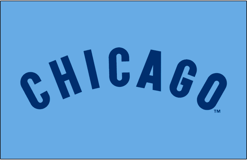 Chicago Cubs Logo Jersey Logo (1976-1977) - Chicago arched in blue on powder blue, worn on the Chicago Cubs road jerseys in 1976 and 1977. Pinstripes added for 1978 season. SportsLogos.Net