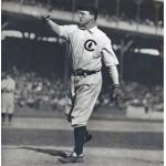 Chicago Cubs (1908) Orval Overall wearing the Chicago Cubs home uniform (with solid navy blue cap) while on the mound during the 1908 World Series