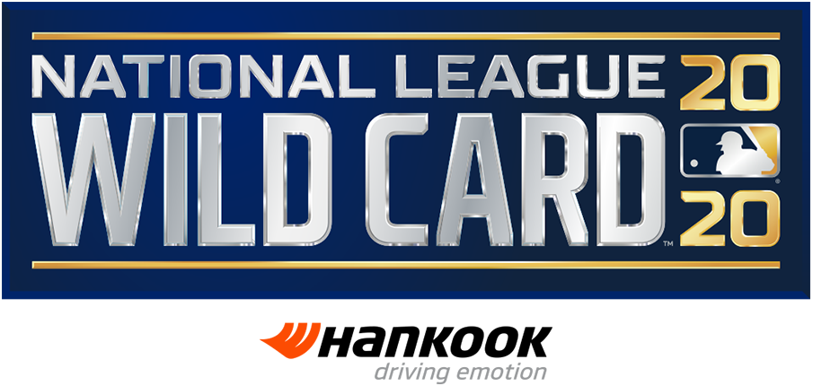 NL Wildcard Game Logo Sponsored Logo (2020) - The 2020 National League Wild Card Game logo shows the name of the event stacked in all caps, sans-serif silver lettering with the year in gold to the right and the MLB logo. The entire logo is placed within a navy blue rectangle. This version of the logo, shown with the Doosan branding, is considered the official primary logo for the event. This version of the logo, shown with the Hankook branding, is considered the official primary logo for the event. SportsLogos.Net