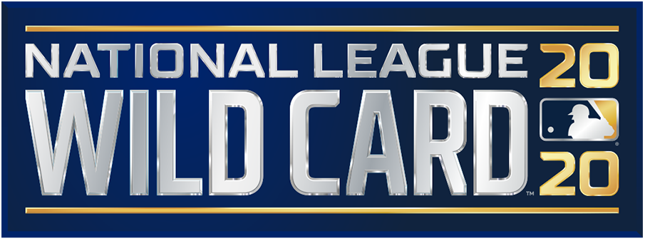 NL Wildcard Game Logo Primary Logo (2020) - The 2020 National League Wild Card Game logo shows the name of the event stacked in all caps, sans-serif silver lettering with the year in gold to the right and the MLB logo. The entire logo is placed within a navy blue rectangle. This version of the logo, shown with the Doosan branding, is considered the official primary logo for the event. SportsLogos.Net