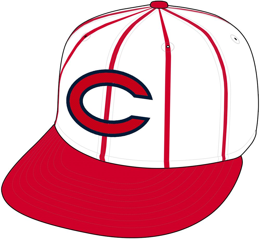 Cincinnati Reds Cap Cap (1961-1966) - Cincinnati Reds home cap from 1961 through 1966, white crown with red pinstripes, red C with blue trim and red visor. SportsLogos.Net