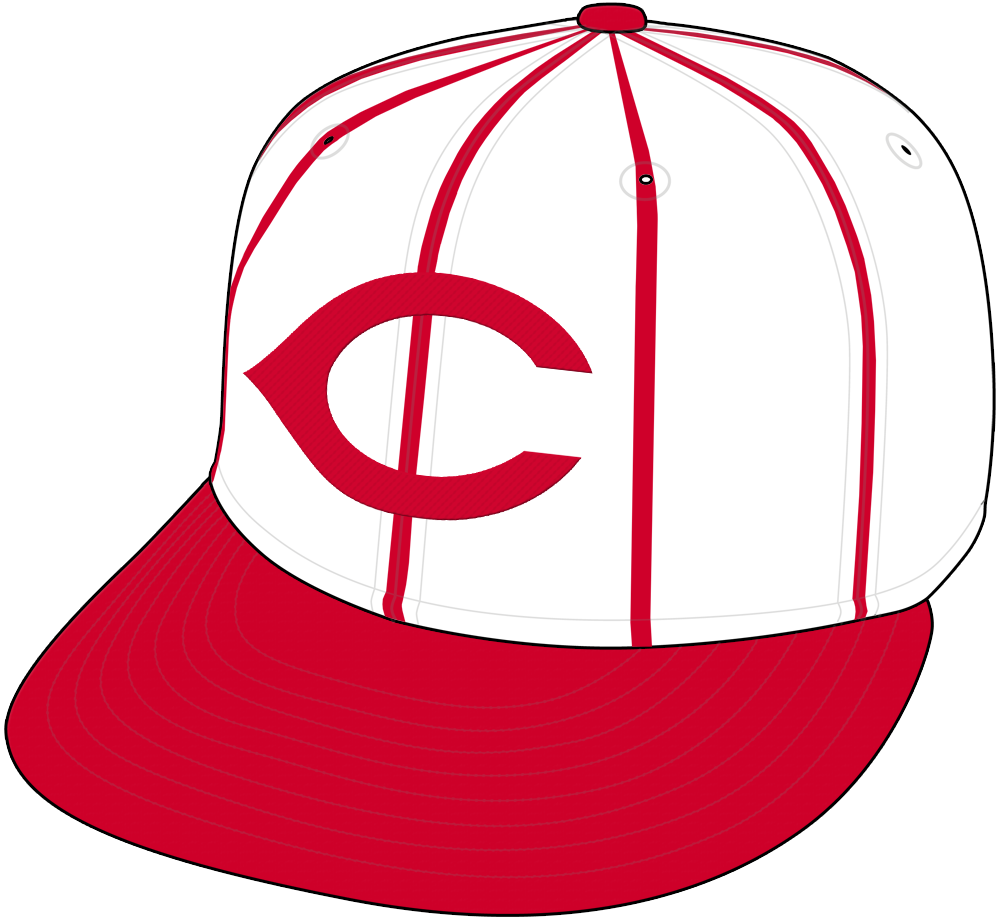 Cincinnati Reds Cap Cap (1959-1960) - Cincinnati Reds home cap for 1959 and 1960, white crown with red pinstripes, red C and red visor. Worn by the Redlegs in 1958 and by the Reds in 1959 and 1960 SportsLogos.Net