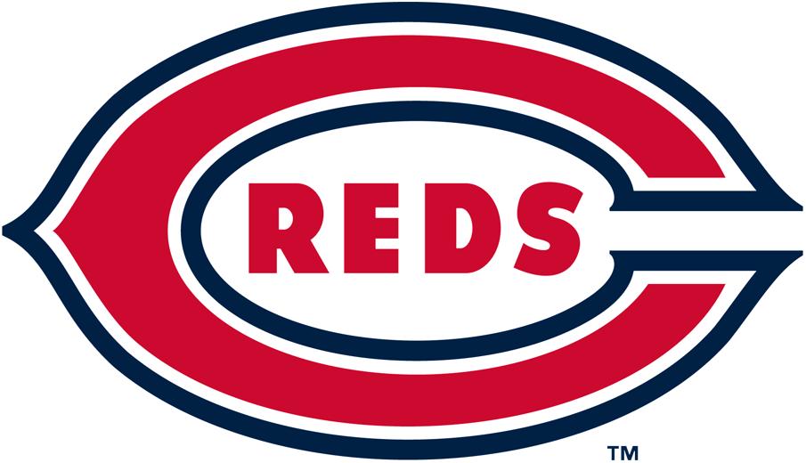 Cincinnati Reds Logo Primary Logo (1939-1952) - Reds written in red wishbone C on navy SportsLogos.Net