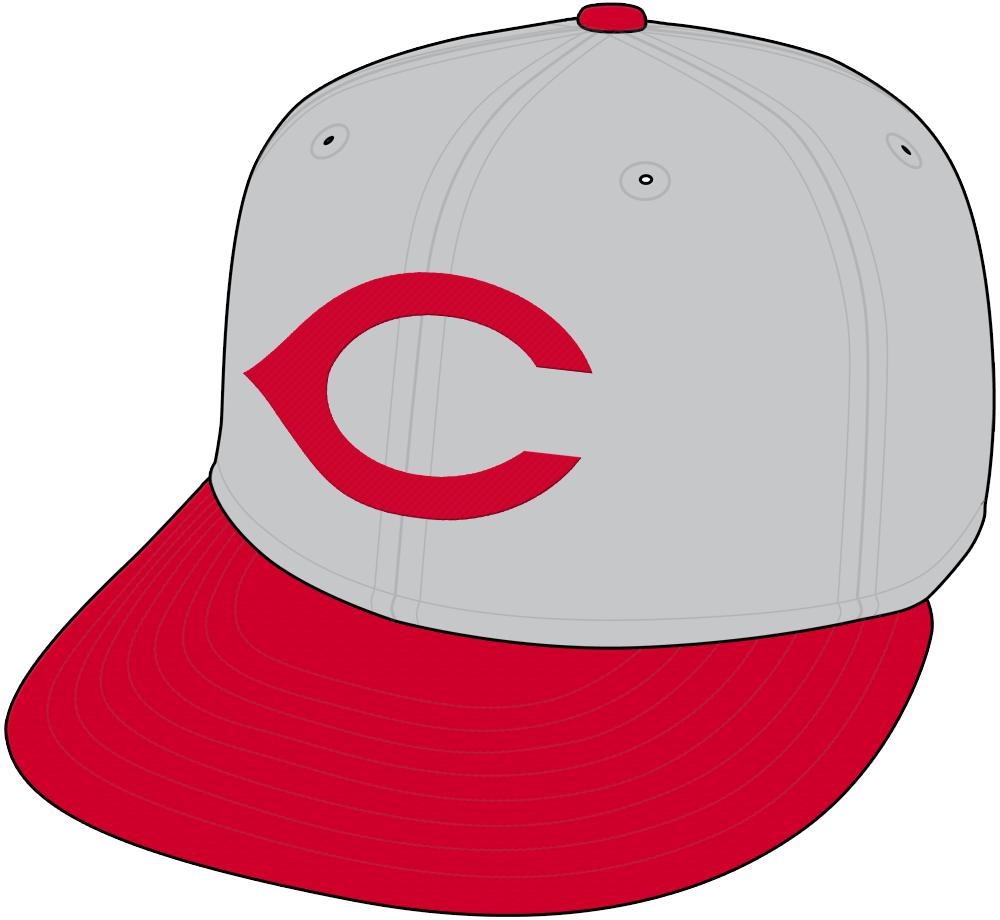 Cincinnati Reds Cap Cap (1959-1960) - Cincinnati Reds road cap from 1959 through 1969, grey crown with red C and red visor. Also worn by the Cincinnati Redlegs in 1957 and 1958 SportsLogos.Net