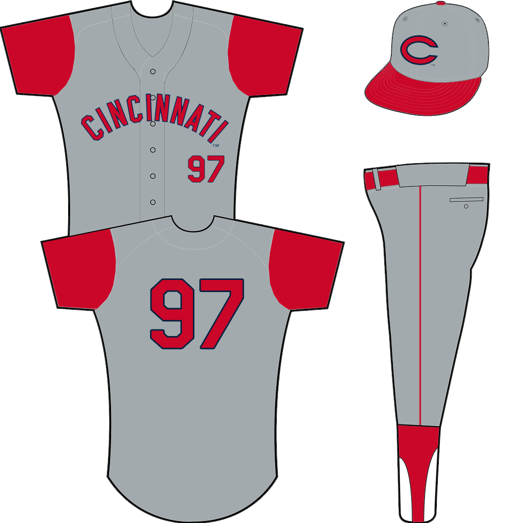 Cincinnati Reds Uniform Road Uniform (1961-1966) - A grey vest worn with a red undershirt, CINCINNATI arched across the front in red with navy blue trim SportsLogos.Net