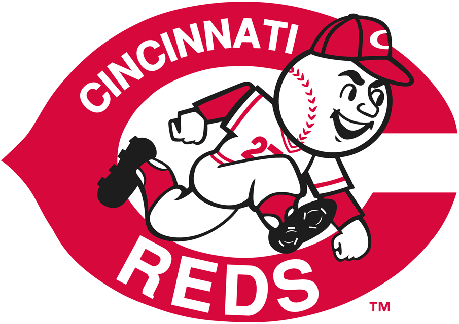 Cincinnati Reds Logo Primary Logo (1968-1992) - Reds player with baseball head running in front of red C SportsLogos.Net