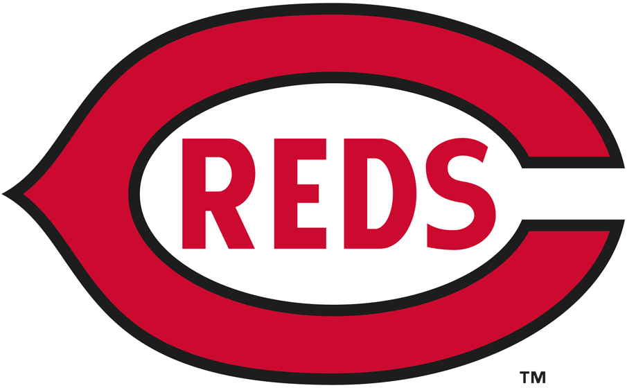 Cincinnati Reds Logo Primary Logo (1920-1938) - A red and black wishbone 'C' with 'REDS' written inside it in red SportsLogos.Net