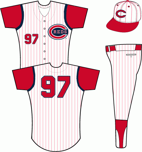 Cincinnati Reds Uniform Home Uniform (1961-1966) - A white vest with red pinstripes worn with a red undershirt. Reds primary logo on left chest opposite player number in red and blue. SportsLogos.Net