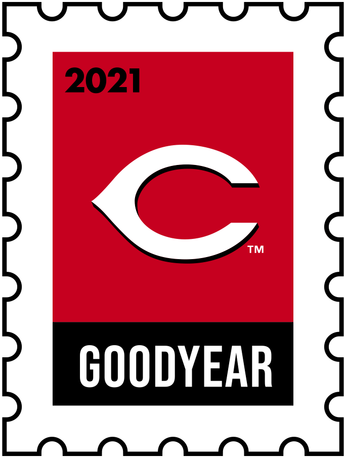 Cincinnati Reds Logo Event Logo (2021) - The Cincinnati Reds 2021 Spring Training logo, the design follows a league-wide style using a postage stamp in team colours with the team logo in the middle. SportsLogos.Net