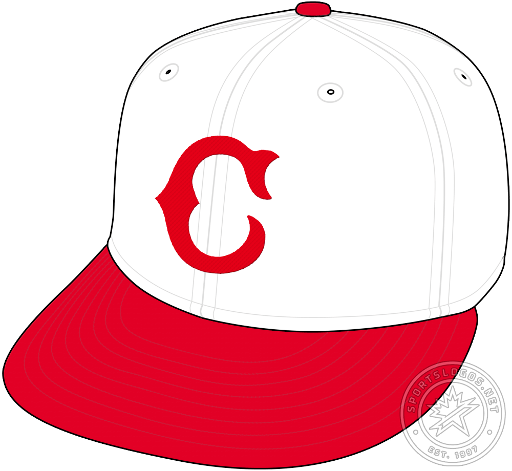 Cincinnati Reds Cap Cap (1930-1931) - In 1930 the Cincinnati Reds dropped the navy blue cap for a more familiar white crown with a red visor. On the front of the cap is the same Tuscan-style red C that the club had worn previously on their blue caps. The Reds would wear this cap for just two seasons before changing the logo in 1932. SportsLogos.Net