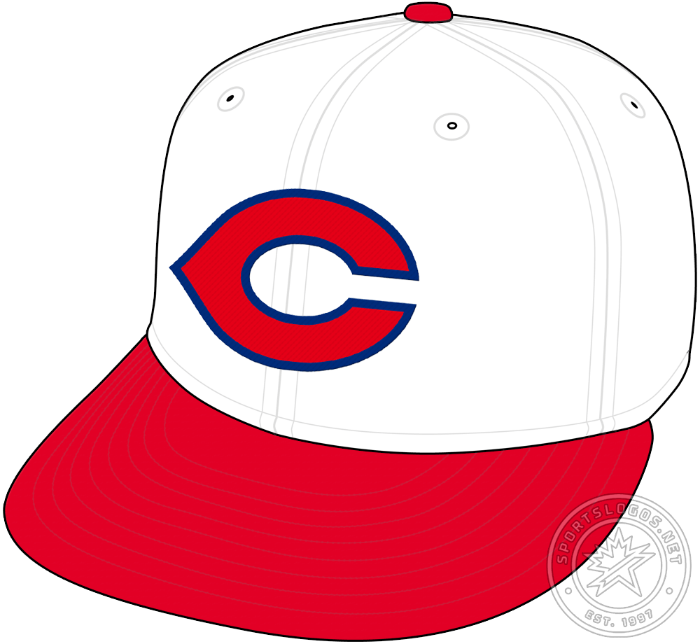 Cincinnati Reds Cap Cap (1934-1936) - The Cincinnati Reds kept the white crown and red visor on their cap design for 1934 but changed the logo on the front. Now a wider red C with a blue outline around it. The Reds would wear this cap for three seasons before switching back to navy blue in 1937. SportsLogos.Net