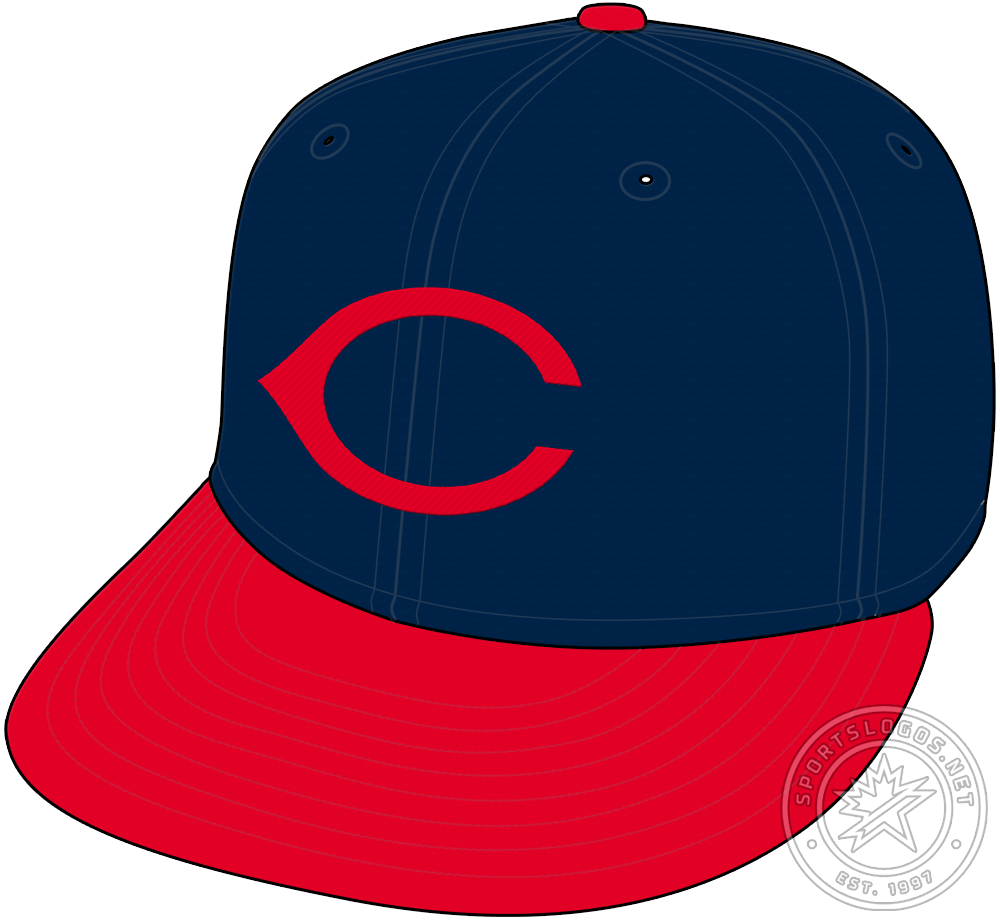 Cincinnati Reds Cap Cap (1937-1946) - In 1937, tollowing a seven-year break, the Cincinnati Reds return to wearing a navy blue cap. The design features a red wishbone-style C on the front with a red visor. SportsLogos.Net