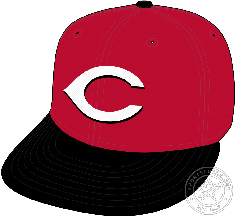 Cincinnati Reds Cap Cap (2013-Pres) - The Cincinnati Reds primary road cap is an all red crown with a black visor and button, on the front is their familiar white wishbone-shaped C with a black drop shadow. For the 2013 season, the Reds darkened the shade of red used across their entire logo and uniform set. SportsLogos.Net