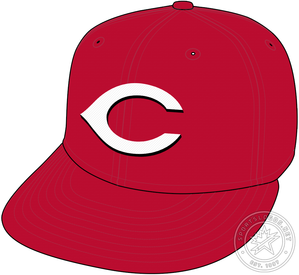 Cincinnati Reds Cap Cap (2013-Pres) - The Cincinnati Reds primary home cap is an all red crown with their familiar white wishbone-shaped C with a black drop shadow. For the 2013 season, the Reds darkened the shade of red used across their entire logo and uniform set. SportsLogos.Net