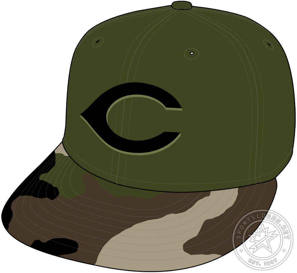 Cincinnati Reds Cap Cap (2018-Pres) - The Cincinnati Reds added this camouflage inspired Military tribute cap as an official alternate option for the 2018 season. It\'s a dark green crown with a camo patterned visor and the Reds logo in black and light green on the front. SportsLogos.Net