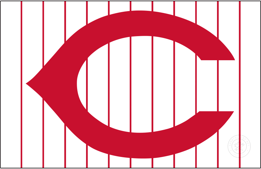 Cincinnati Reds Logo Jersey Logo (1959-1960) - In 1959 the Cincinnati Reds returned to their familiar name when they dropped the short-lived Redlegs tag. The uniforms, however, remained the same without REDS written inside the red wishbone C, shown here on their home white pinstriped uniform. SportsLogos.Net