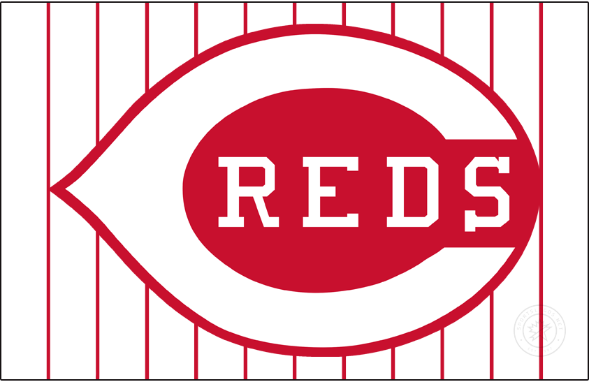 Cincinnati Reds Logo Jersey Logo (1967) - In 1967 the Cincinnati Reds eliminated the navy blue and brought back the wishbone-style C. The logo featured a white C on a red field with REDS inside in white, this was worn on their white home jersey with red pinstripes for just a single season. SportsLogos.Net