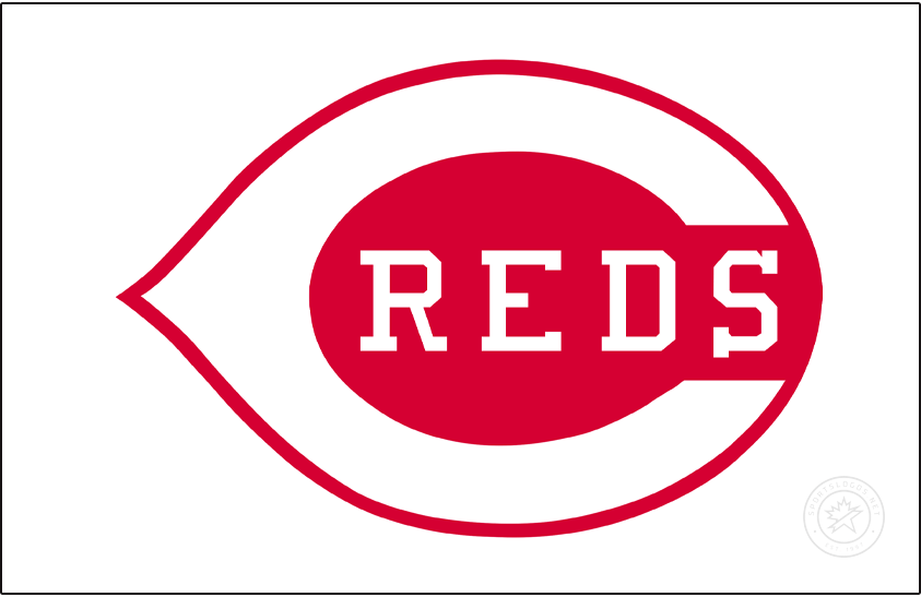 Cincinnati Reds Logo Jersey Logo (1968-1992) - Commonly associated with the days of the Big Red Machine, the Cincinnati Reds wore this white wishbone-style C on a red field with REDS written inside in white on a white jersey. First as a traditional button-up jersey and then as a pullover for 21 seasons from 1972-1992. SportsLogos.Net