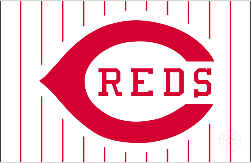 Cincinnati Reds Logo Jersey Logo (1993-1998) - The Cincinnati Reds returned to their roots in 1993 when they switched to a white button-up home jersey with red pinstripes. The familiar wishbone-C logo remained on the chest but now with the colours reversed from what they wore during the 1970s and 80s. This style would remain for six seasons, replaced after 1998. SportsLogos.Net