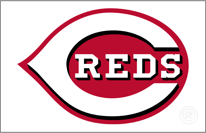 Cincinnati Reds Logo Jersey Logo (2013-Pres) - On their home jerseys, the Cincinnati Reds wear a white wishbone-style C on a red field with the team name REDS written inside in white with black drop shadows. The shade of red was darkened in time for the 2013 season. SportsLogos.Net