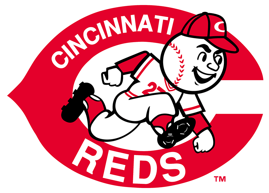 Cincinnati Reds Logo Primary Logo (1968-1992) - From 1968 to 1992 the Cincinnati Reds logo featured a clean-shaven version of Mr. Redlegs, wearing a Reds cap and uniform, within a red wishbone-style C and the team name written inside in white. SportsLogos.Net