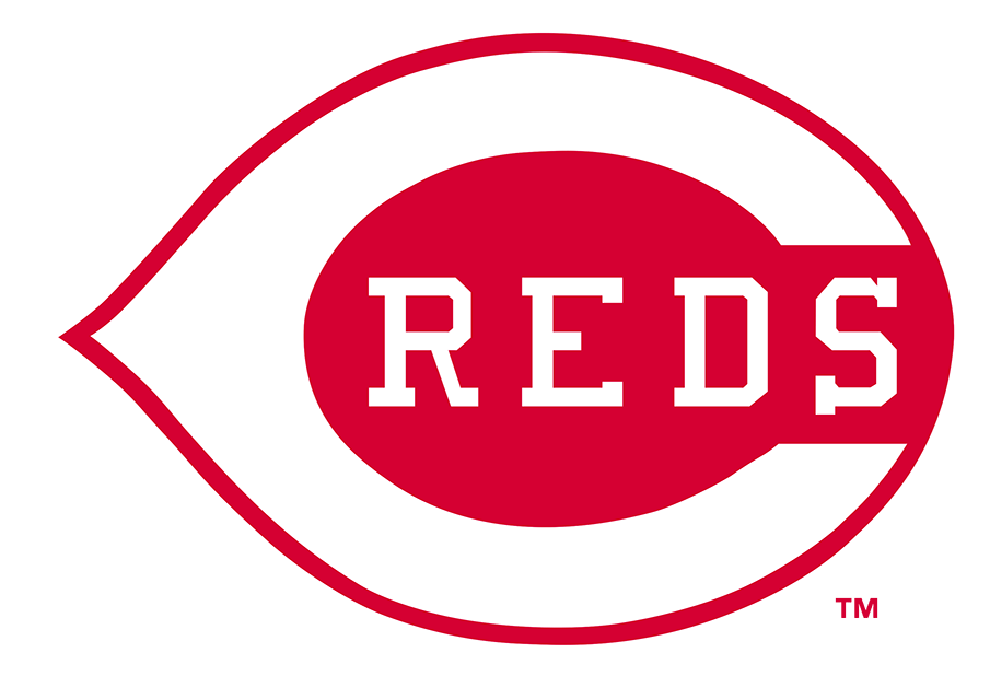 Cincinnati Reds Logo Primary Logo (1993-1998) - In 1993 the Reds simplified things by repurposing the long-used logo from the front of their home jerseys as their primary logo. The logo shows a white wishbone-C on a red field with REDS written inside in white block-serif lettering. The shade of red was also darkened slightly in time for 1993. SportsLogos.Net