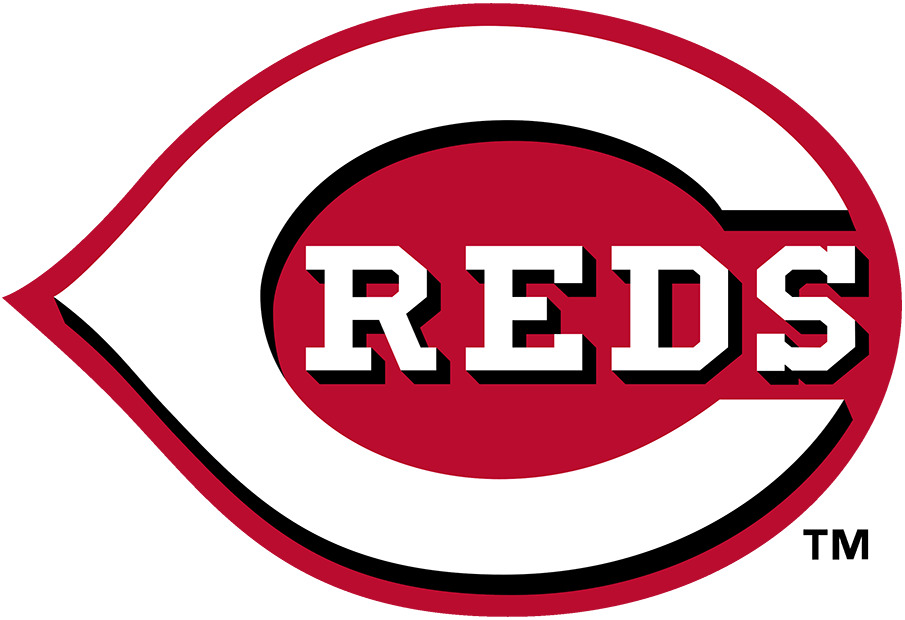 Cincinnati Reds Logo Primary Logo (2013-Pres) - In 2013 the Cincinnati Reds darkened their shade of red but kept the rest of their logos, in use since 1999, the same. The logo shows a white wishbone-style C on a red field of the same shape with a black drop shadow, inside the C is REDS written in white lettering.  SportsLogos.Net