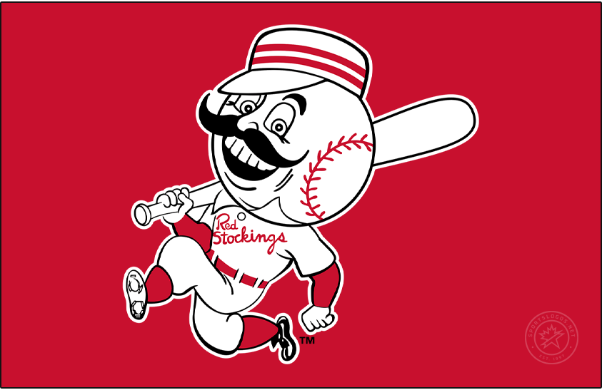 Cincinnati Reds Logo Primary Dark Logo (1959-1967) - The Cincinnati Reds brought back their previous name in 1959, dropping the Red Stockings moniker for the more simple Reds. Despite the name change, the logo remained the same, showing the club mascot Mr. Redlegs with a black handlebar moustache and baseball head with an old-fashioned pillbox cap and Red Stockings across the chest of its uniform. SportsLogos.Net