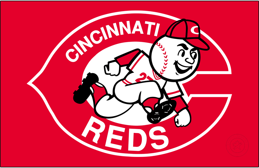 Cincinnati Reds Logo Primary Dark Logo (1968-1992) - From 1968 to 1992 the Cincinnati Reds logo featured a clean-shaven version of Mr. Redlegs, wearing a Reds cap and uniform, within a red wishbone-style C and the team name written inside in white. SportsLogos.Net