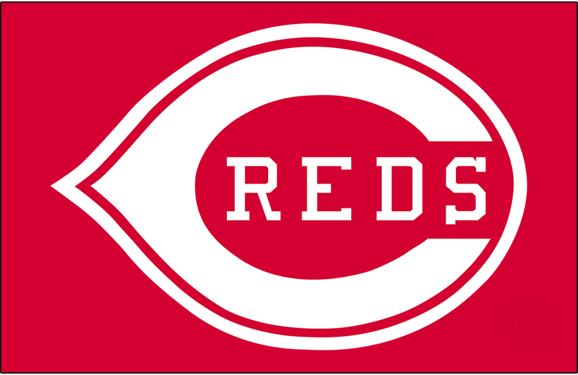Cincinnati Reds Logo Primary Dark Logo (1993-1998) - In 1993 the Reds simplified things by repurposing the long-used logo from the front of their home jerseys as their primary logo. The logo shows a white wishbone-C on a red field with REDS written inside in white block-serif lettering. The shade of red was also darkened slightly in time for 1993. SportsLogos.Net