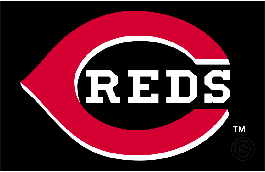 Cincinnati Reds Logo Primary Dark Logo (1999-2012) - In 1999 the Cincinnati Reds added black to their uniforms and primary logo. The design of the logo remained essentially the same as what they had used since 1993 but now with a black drop shadow on the white wishbone-C and REDS lettering. Following the 2012 season, the Reds kept this logo but simply darkened the shade of red. SportsLogos.Net