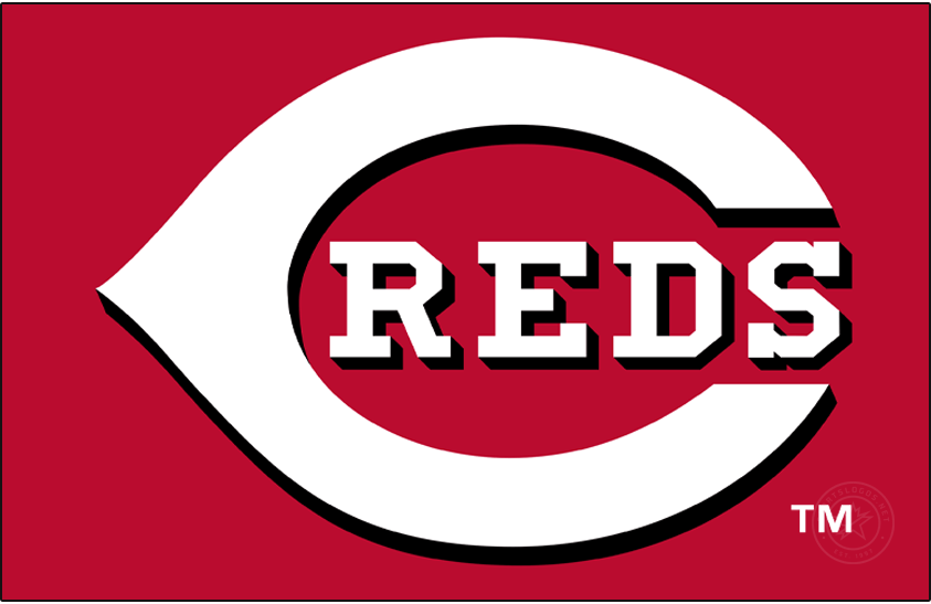 Cincinnati Reds Logo Primary Dark Logo (2013-Pres) - In 2013 the Cincinnati Reds darkened their shade of red but kept the rest of their logos, in use since 1999, the same. The logo shows a white wishbone-style C on a red field of the same shape with a black drop shadow, inside the C is REDS written in white lettering.  SportsLogos.Net