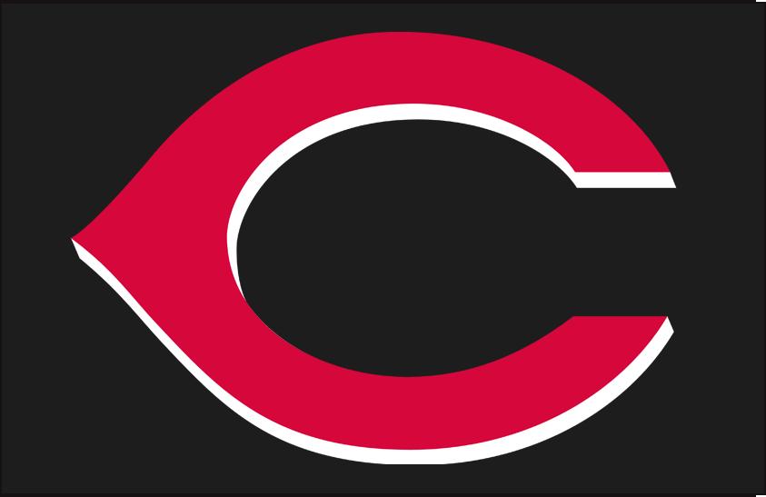 Cincinnati Reds Logo Cap Logo (1999-2006) - (Road) red C with white shadow on black background SportsLogos.Net