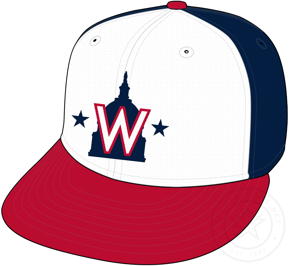 Washington Nationals Cap Cap (2020-Pres) - US Capitol Dome with W logo on a blue cap with white front panel and red visor, worn as alternate cap starting in 2020 SportsLogos.Net