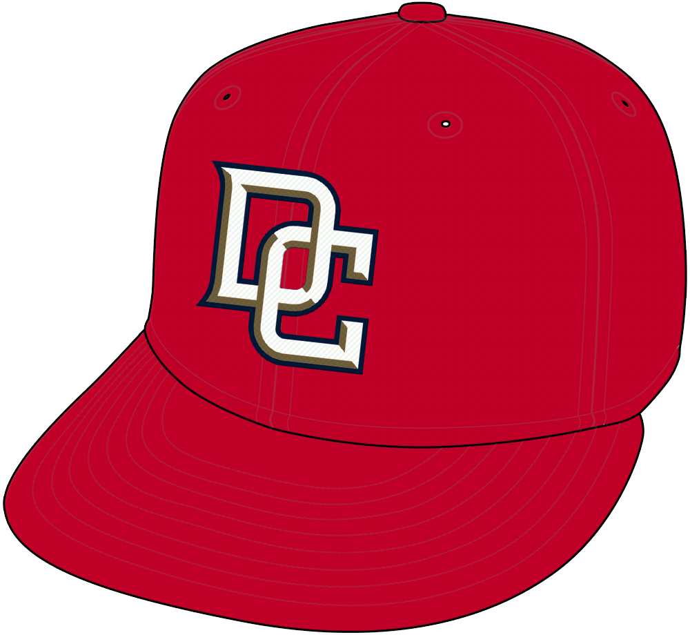 Washington Nationals Cap Cap (2006-2008) - Washington Nationals alternate cap, red with interlocking DC in white, gold, and blue SportsLogos.Net