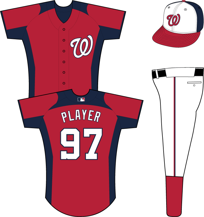 Washington Nationals Uniform Practice Uniform (2013) - White curly W with a blue outline on the chest of a red uniform with blue side, shoulder, underarm, and sleeve end panels SportsLogos.Net