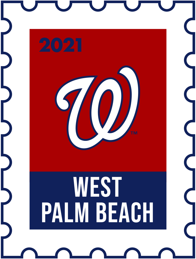 Washington Nationals Logo Event Logo (2021) - The Washington Nationals 2021 Spring Training logo, the design follows a league-wide style using a postage stamp in team colours with the team logo in the middle. SportsLogos.Net