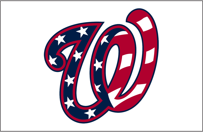 Washington Nationals Logo Jersey Logo (2017-Pres) - Stars and stripes pattern in the curly W logo on white, worn on Nationals alt. home jersey since 2017 SportsLogos.Net
