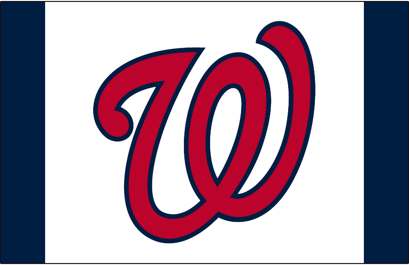 Washington Nationals Logo Batting Practice Logo (2013-2016) - Curly W logo red with blue trim on white with blue on either side. Worn on the white-front-panel Washington Nationals batting practice caps starting in 2013 SportsLogos.Net