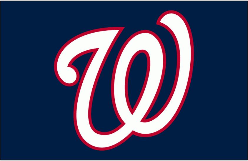 Washington Nationals Logo Batting Practice Logo (2007-2010) - White curly W with red trim on blue, worn on Washington Nationals batting practice jersey from 2007 through 2010 seasons SportsLogos.Net