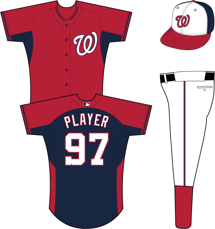 Washington Nationals Uniform Practice Uniform (2014-Pres) - White curly W with a blue outline on the left chest of a red uniform with blue back and underarm panels SportsLogos.Net