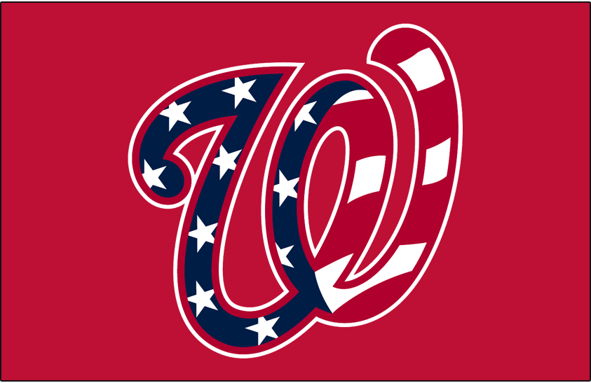 Washington Nationals Logo Cap Logo (2017-Pres) - Stars and stripes pattern in the curly W logo on red SportsLogos.Net