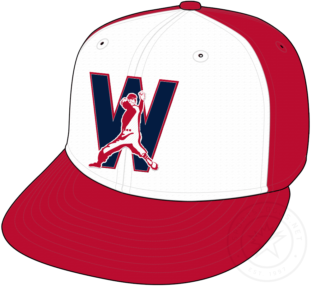 Washington Nationals Cap Cap (2020-Pres) - Retro themed cap featuring a pitcher over the letter W -- red cap with a white front panel and red visor, worn as alternate cap starting in 2020 SportsLogos.Net