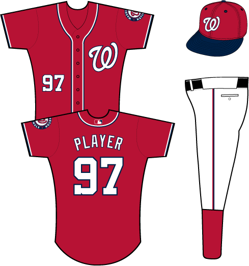 Washington Nationals Uniform Alternate Uniform (2013-Pres) - A curly W in white with a blue outline on the chest of a red uniform with white and blue placket piping and sleeve trim, primary logo patch on left sleeve SportsLogos.Net