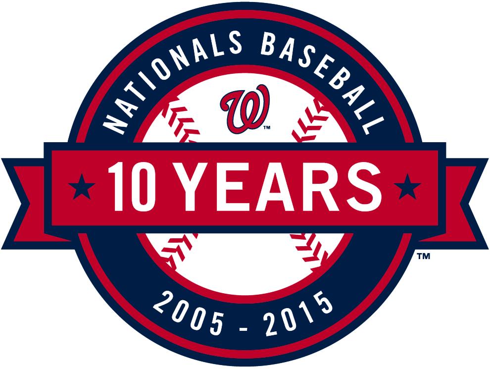 Washington Nationals Logo Anniversary Logo (2015) - Washington Nationals 10th anniversary logo, worn as a patch on right sleeve of all Nationals jerseys during the 2015 season SportsLogos.Net