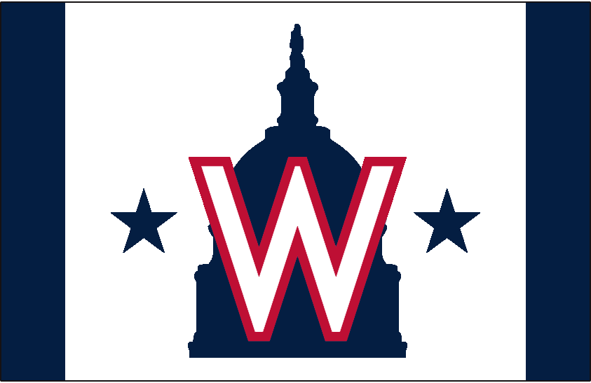 Washington Nationals Logo Cap Logo (2020-Pres) - Silhouette of the U.S. Capitol Dome in blue with a star on either side, red and white W in front. Worn on a white front panel with blue side panels on the Nationals alternate cap starting in 2020 SportsLogos.Net