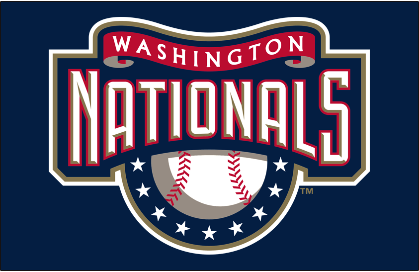 Washington Nationals Logo Primary Dark Logo (2005-2010) - Washington Nationals primary logo on navy blue SportsLogos.Net