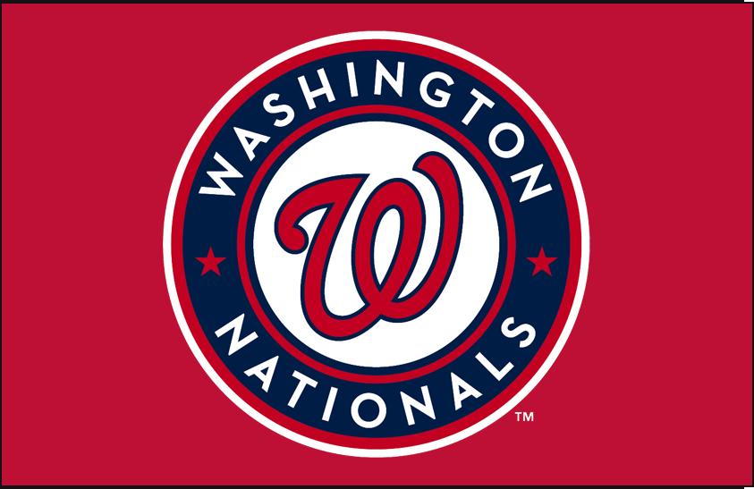 Washington Nationals Logo Primary Dark Logo (2011-Pres) - Washington Nationals primary logo on red SportsLogos.Net